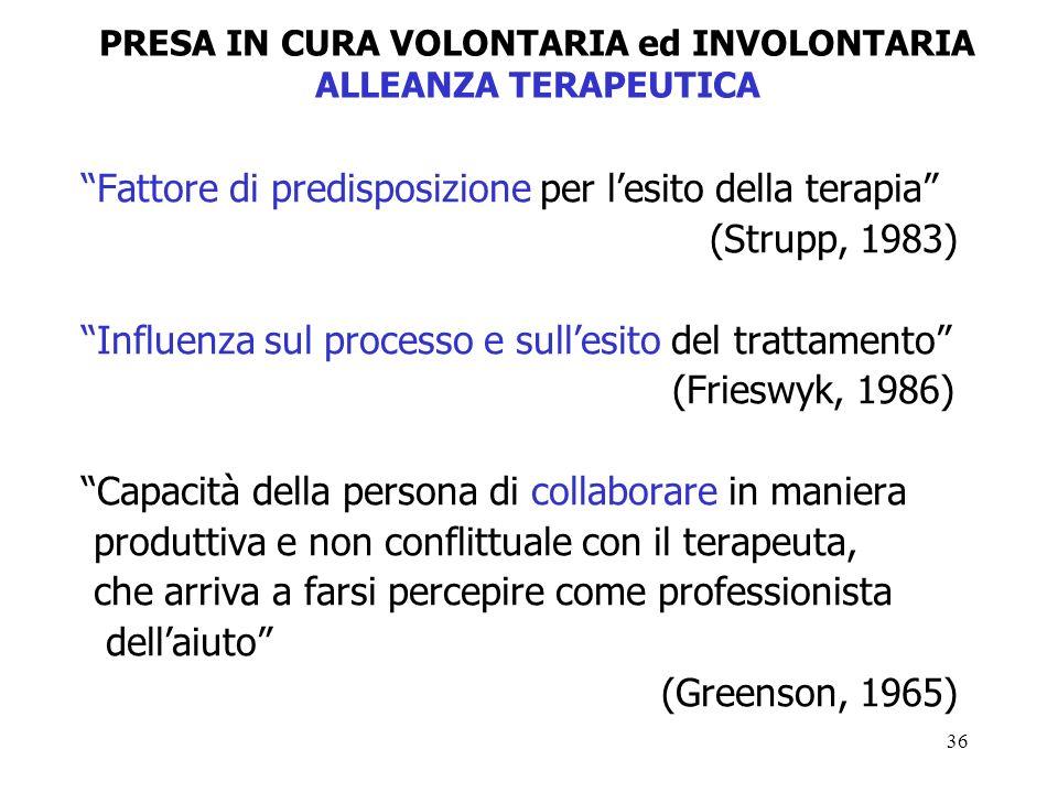 36 Fattore di predisposizione per lesito della terapia (Strupp, 1983) Influenza sul processo e sullesito del trattamento (Frieswyk, 1986) Capacità della persona di collaborare in maniera produttiva e non conflittuale con il terapeuta, che arriva a farsi percepire come professionista dellaiuto (Greenson, 1965) PRESA IN CURA VOLONTARIA ed INVOLONTARIA ALLEANZA TERAPEUTICA