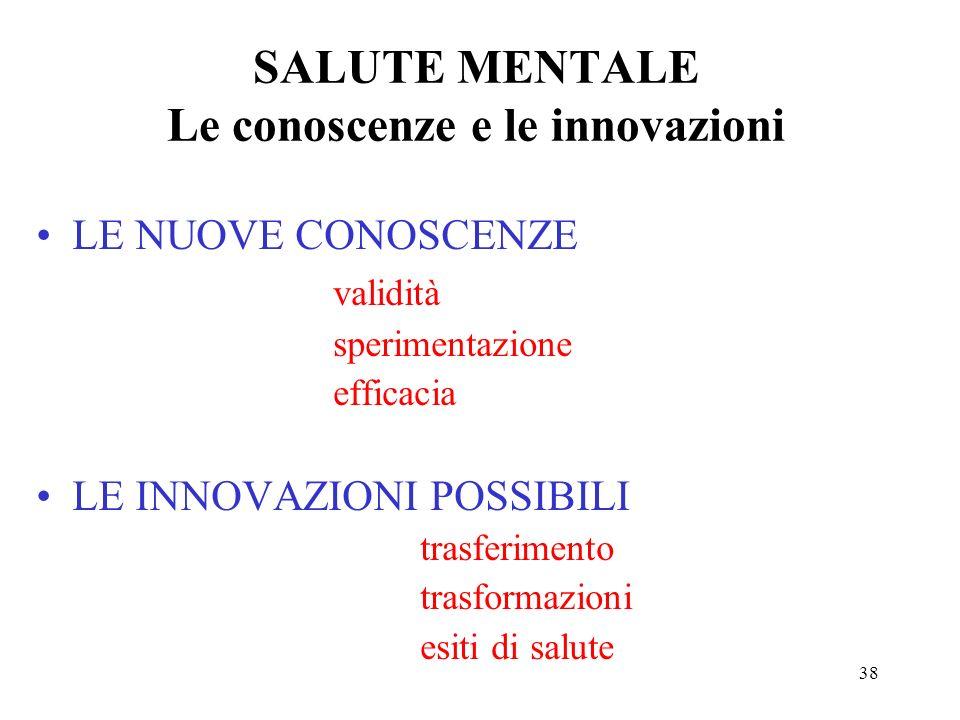 38 SALUTE MENTALE Le conoscenze e le innovazioni LE NUOVE CONOSCENZE validità sperimentazione efficacia LE INNOVAZIONI POSSIBILI trasferimento trasformazioni esiti di salute
