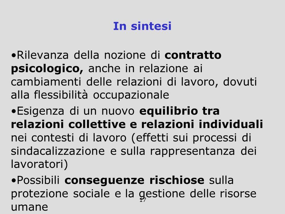 17 In sintesi Rilevanza della nozione di contratto psicologico, anche in relazione ai cambiamenti delle relazioni di lavoro, dovuti alla flessibilità