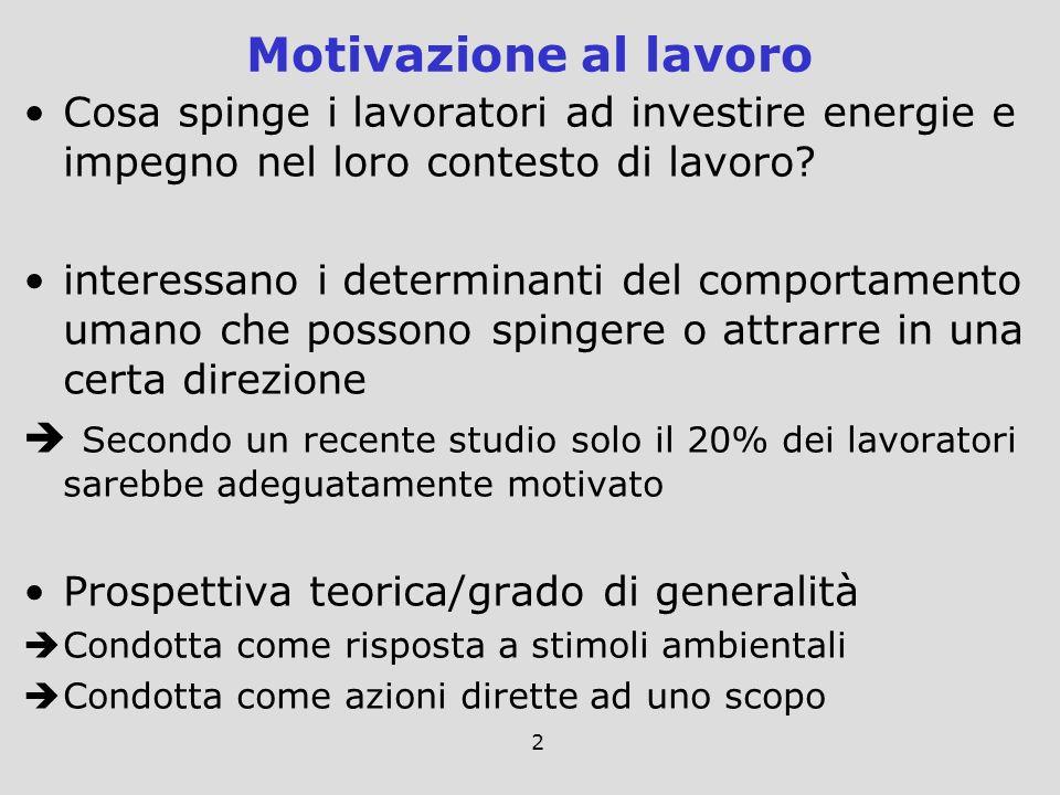 2 Cosa spinge i lavoratori ad investire energie e impegno nel loro contesto di lavoro? interessano i determinanti del comportamento umano che possono