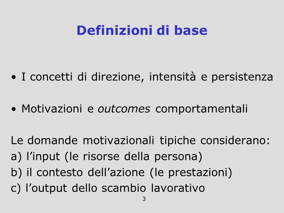 3 I concetti di direzione, intensità e persistenza Motivazioni e outcomes comportamentali Le domande motivazionali tipiche considerano: a) linput (le
