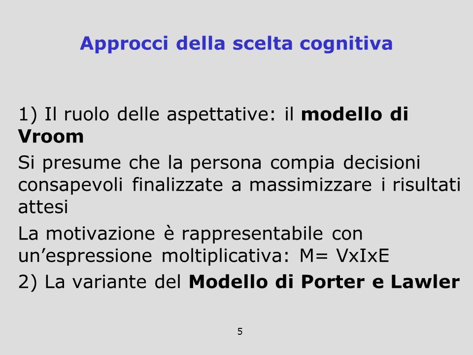 5 1) Il ruolo delle aspettative: il modello di Vroom Si presume che la persona compia decisioni consapevoli finalizzate a massimizzare i risultati att