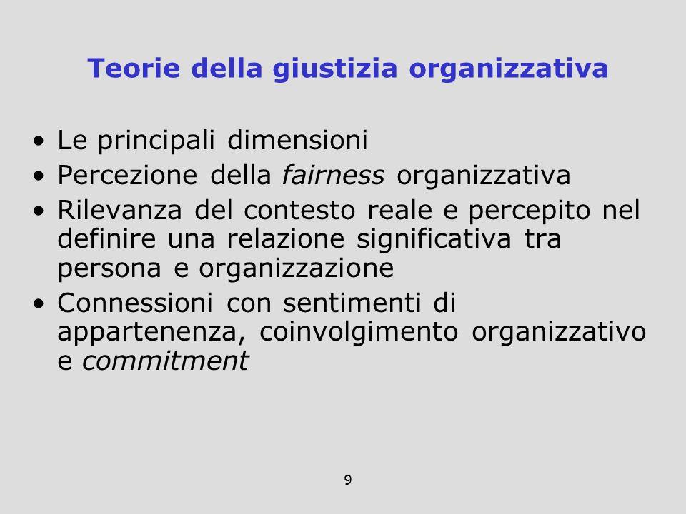 9 Le principali dimensioni Percezione della fairness organizzativa Rilevanza del contesto reale e percepito nel definire una relazione significativa t