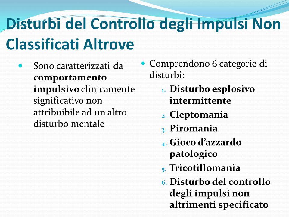 Disturbi del Controllo degli Impulsi Non Classificati Altrove Sono caratterizzati da comportamento impulsivo clinicamente significativo non attribuibi