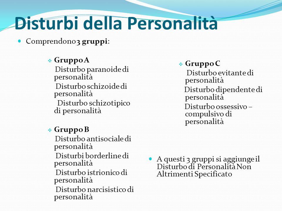 Disturbi della Personalità Comprendono 3 gruppi: Gruppo A Disturbo paranoide di personalità Disturbo schizoide di personalità Disturbo schizotipico di