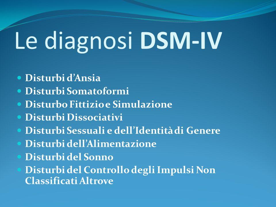 Le diagnosi DSM-IV Disturbi dAnsia Disturbi Somatoformi Disturbo Fittizio e Simulazione Disturbi Dissociativi Disturbi Sessuali e dellIdentità di Gene