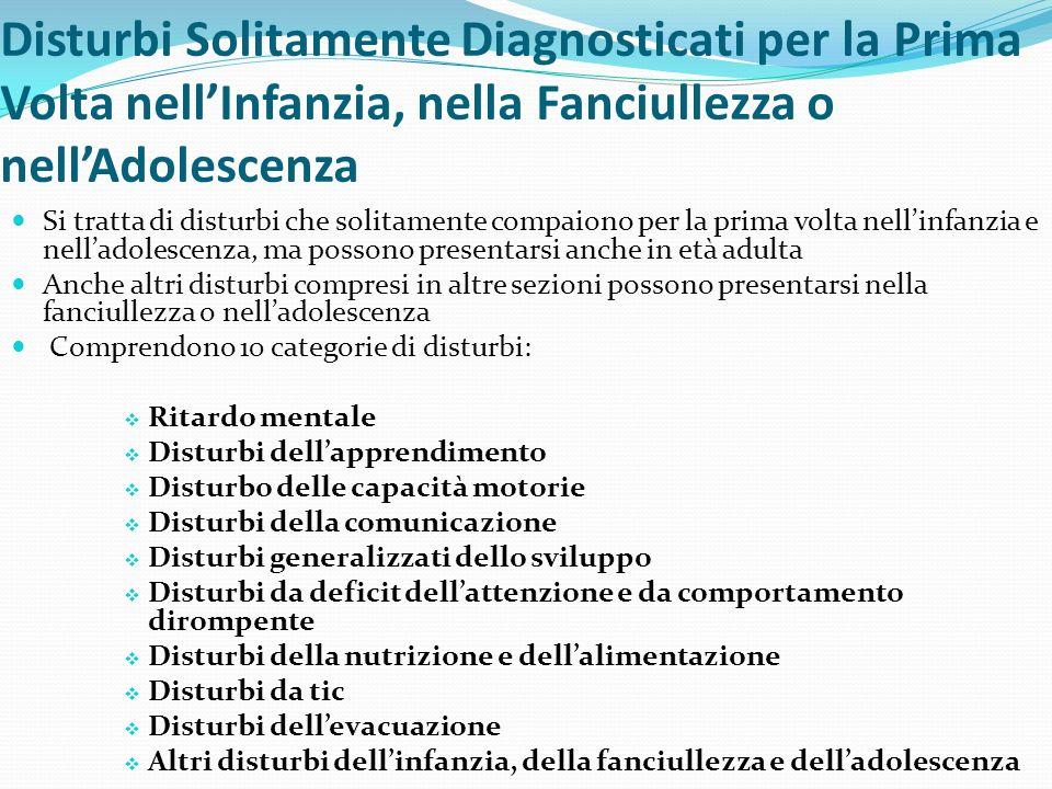 Disturbi Solitamente Diagnosticati per la Prima Volta nellInfanzia, nella Fanciullezza o nellAdolescenza Si tratta di disturbi che solitamente compaio