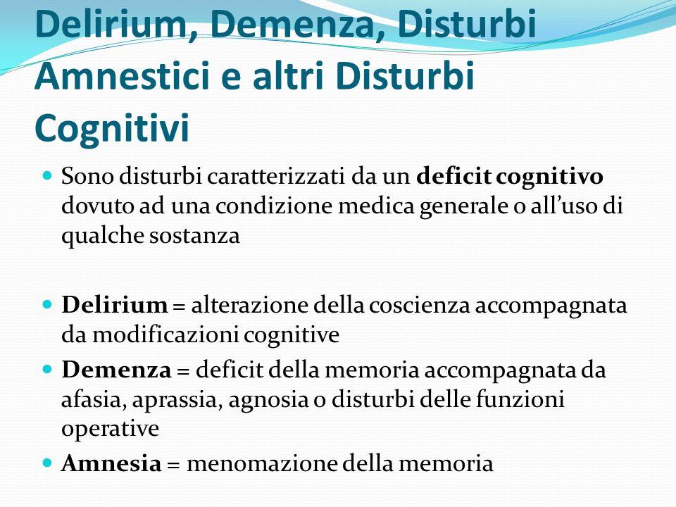 Delirium, Demenza, Disturbi Amnestici e altri Disturbi Cognitivi Sono disturbi caratterizzati da un deficit cognitivo dovuto ad una condizione medica