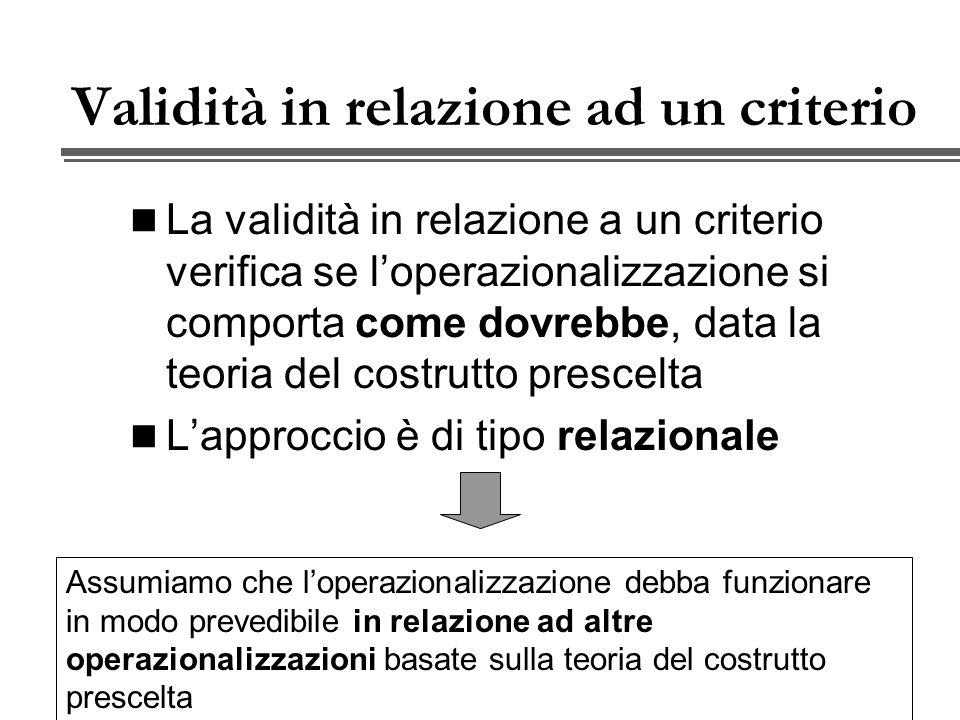Validità in relazione ad un criterio La validità in relazione a un criterio verifica se loperazionalizzazione si comporta come dovrebbe, data la teoria del costrutto prescelta Lapproccio è di tipo relazionale Assumiamo che loperazionalizzazione debba funzionare in modo prevedibile in relazione ad altre operazionalizzazioni basate sulla teoria del costrutto prescelta