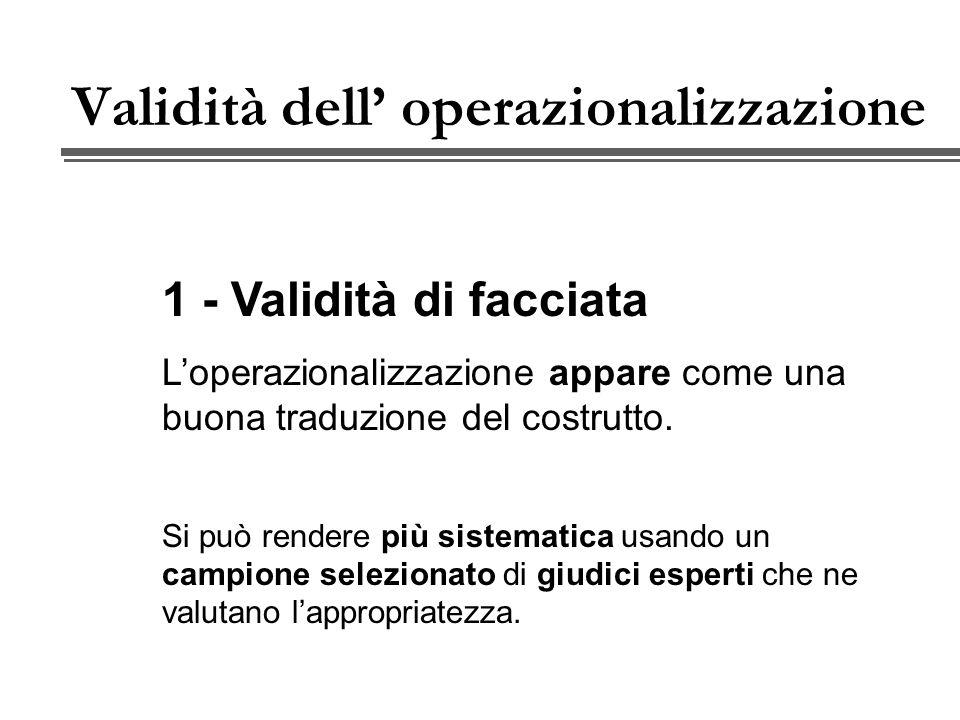 Validità dell operazionalizzazione 1 - Validità di facciata Loperazionalizzazione appare come una buona traduzione del costrutto.