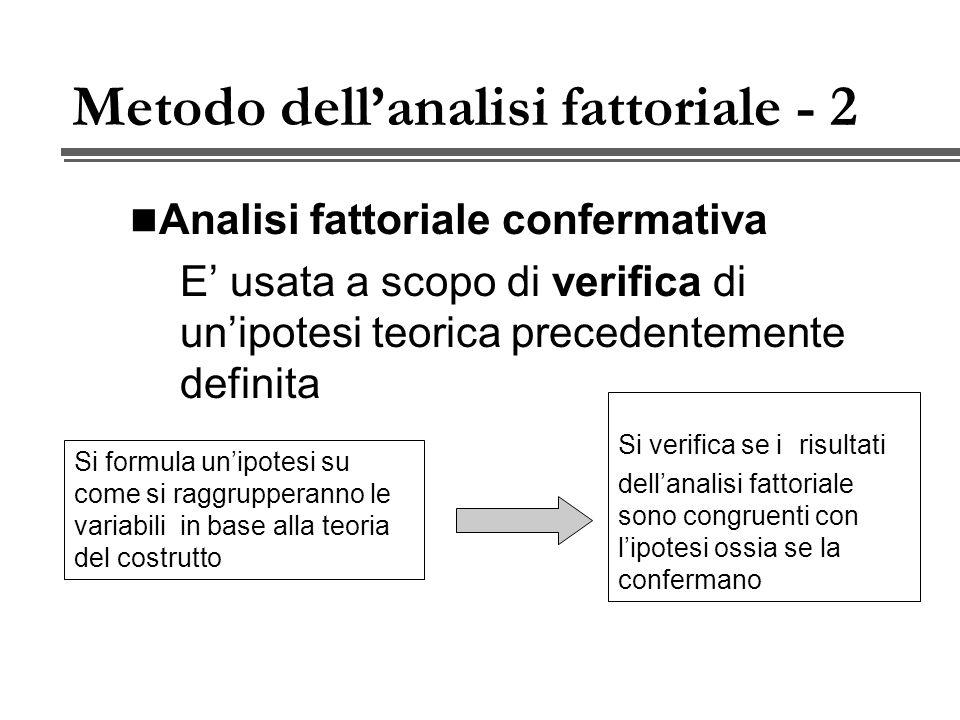 Metodo dellanalisi fattoriale - 2 Analisi fattoriale confermativa E usata a scopo di verifica di unipotesi teorica precedentemente definita Si formula unipotesi su come si raggrupperanno le variabili in base alla teoria del costrutto Si verifica se i risultati dellanalisi fattoriale sono congruenti con lipotesi ossia se la confermano