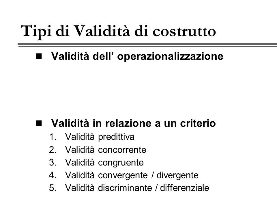 Tipi di Validità di costrutto Validità dell operazionalizzazione Validità in relazione a un criterio 1.Validità predittiva 2.Validità concorrente 3.Validità congruente 4.Validità convergente / divergente 5.Validità discriminante / differenziale