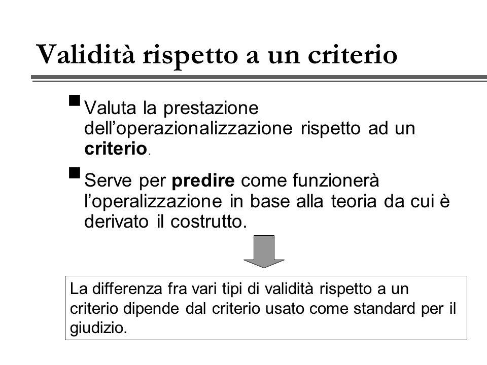 Validità rispetto a un criterio Valuta la prestazione delloperazionalizzazione rispetto ad un criterio.