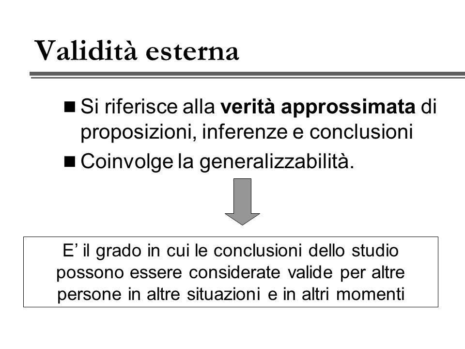 Tipi di Validità di costrutto Validità dell operazionalizzazione 1.Validità di facciata 2.Validità di contenuto 3.Validità strutturale Validità in relazione a un criterio