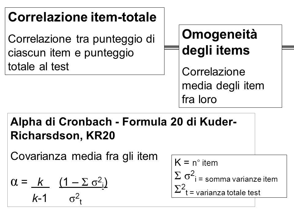 Correlazione item-totale Correlazione tra punteggio di ciascun item e punteggio totale al test Omogeneità degli items Correlazione media degli item fra loro Alpha di Cronbach - Formula 20 di Kuder- Richarsdson, KR20 Covarianza media fra gli item α = k (1 – Σ σ 2 i ) k-1 σ 2 t K = n° item Σ σ 2 i = somma varianze item Σ 2 t = varianza totale test
