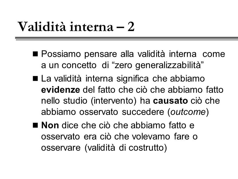 Validità dell operazionalizzazione 2 - Validità di contenuto Loperazionalizzazione viene valutata rispetto a domini di contenuto rilevanti del costrutto.