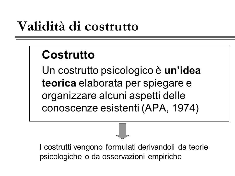 Validità di costrutto Costrutto Un costrutto psicologico è unidea teorica elaborata per spiegare e organizzare alcuni aspetti delle conoscenze esistenti (APA, 1974) I costrutti vengono formulati derivandoli da teorie psicologiche o da osservazioni empiriche