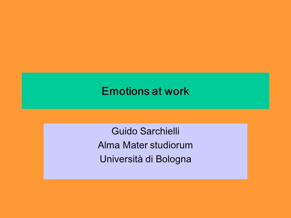 Emotions at work Guido Sarchielli Alma Mater studiorum Università di Bologna
