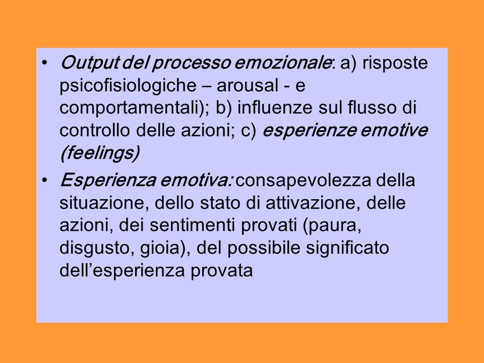 Output del processo emozionale: a) risposte psicofisiologiche – arousal - e comportamentali); b) influenze sul flusso di controllo delle azioni; c) esperienze emotive (feelings) Esperienza emotiva: consapevolezza della situazione, dello stato di attivazione, delle azioni, dei sentimenti provati (paura, disgusto, gioia), del possibile significato dellesperienza provata