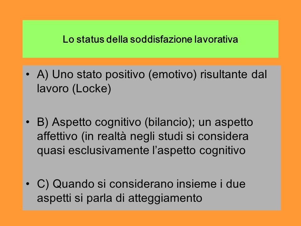 Lo status della soddisfazione lavorativa A) Uno stato positivo (emotivo) risultante dal lavoro (Locke) B) Aspetto cognitivo (bilancio); un aspetto affettivo (in realtà negli studi si considera quasi esclusivamente laspetto cognitivo C) Quando si considerano insieme i due aspetti si parla di atteggiamento