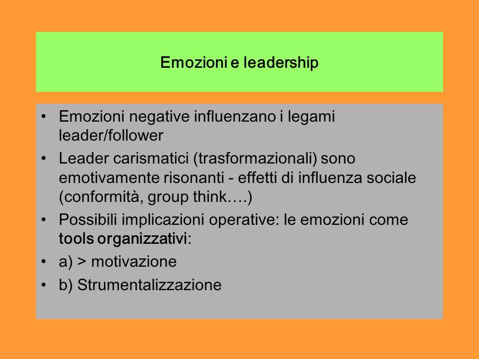 Emozioni e leadership Emozioni negative influenzano i legami leader/follower Leader carismatici (trasformazionali) sono emotivamente risonanti - effetti di influenza sociale (conformità, group think….) Possibili implicazioni operative: le emozioni come tools organizzativi: a) > motivazione b) Strumentalizzazione