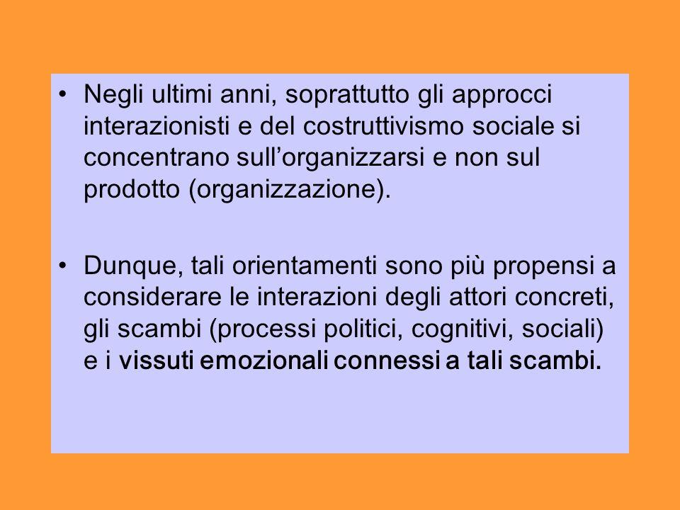 Negli ultimi anni, soprattutto gli approcci interazionisti e del costruttivismo sociale si concentrano sullorganizzarsi e non sul prodotto (organizzazione).