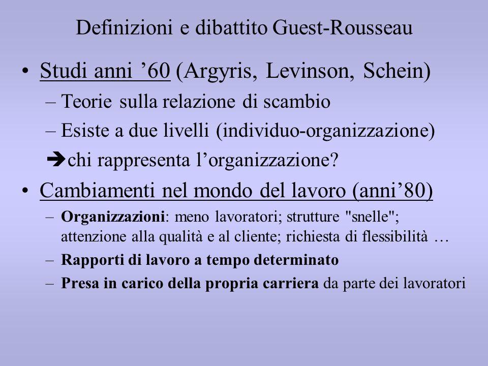 Definizioni e dibattito Guest-Rousseau Studi anni 60 (Argyris, Levinson, Schein) –Teorie sulla relazione di scambio –Esiste a due livelli (individuo-o