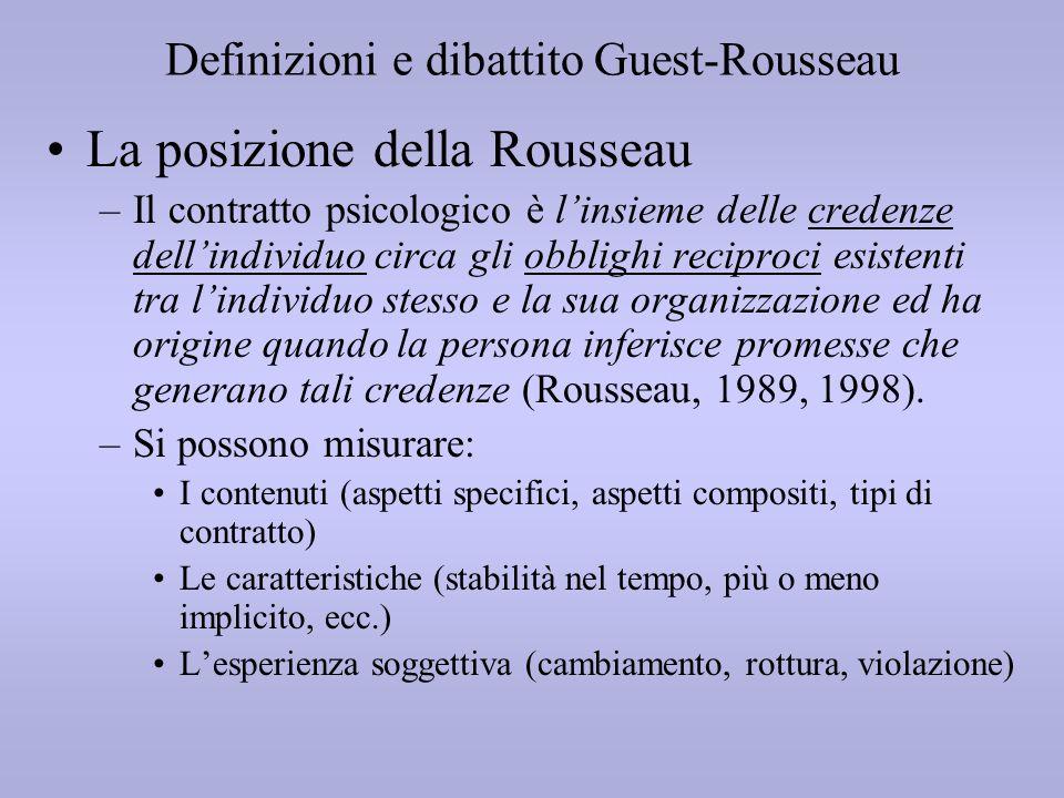 Definizioni e dibattito Guest-Rousseau La posizione della Rousseau –Il contratto psicologico è linsieme delle credenze dellindividuo circa gli obbligh