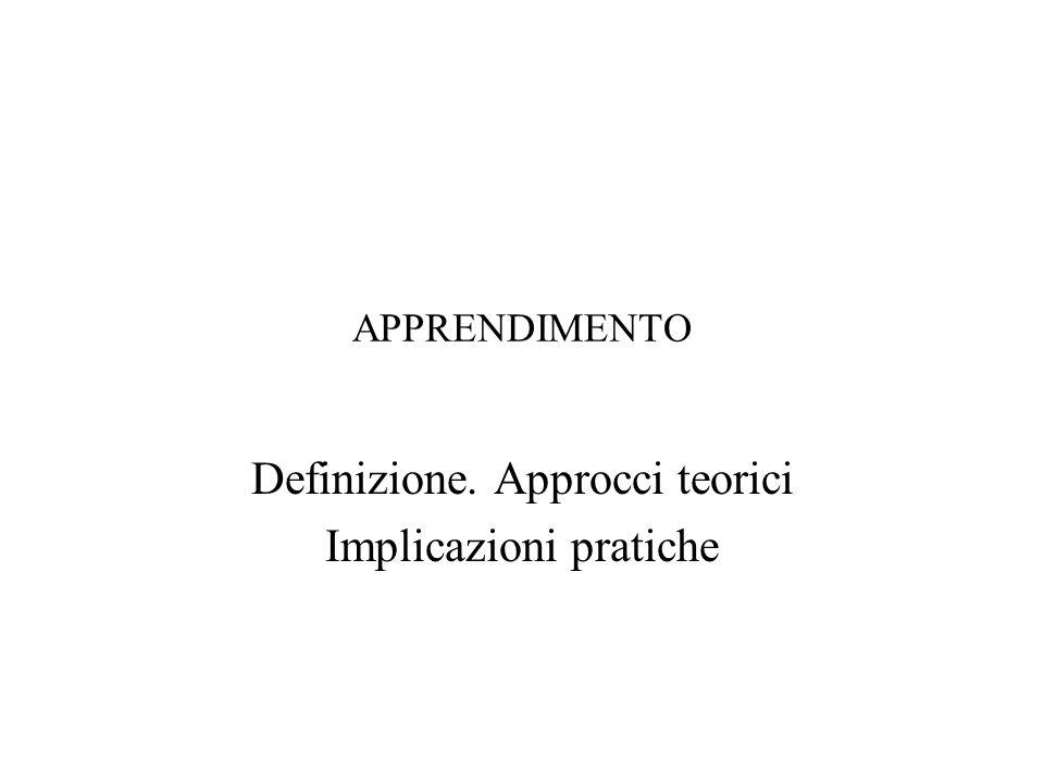 APPRENDIMENTO Definizione. Approcci teorici Implicazioni pratiche