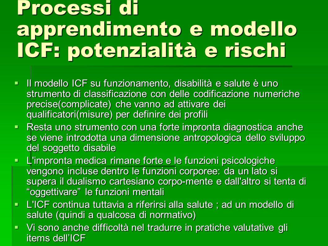 Processi di apprendimento e modello ICF: potenzialità e rischi Il modello ICF su funzionamento, disabilità e salute è uno strumento di classificazione con delle codificazione numeriche precise(complicate) che vanno ad attivare dei qualificatori(misure) per definire dei profili Il modello ICF su funzionamento, disabilità e salute è uno strumento di classificazione con delle codificazione numeriche precise(complicate) che vanno ad attivare dei qualificatori(misure) per definire dei profili Resta uno strumento con una forte impronta diagnostica anche se viene introdotta una dimensione antropologica dello sviluppo del soggetto disabile Resta uno strumento con una forte impronta diagnostica anche se viene introdotta una dimensione antropologica dello sviluppo del soggetto disabile L impronta medica rimane forte e le funzioni psicologiche vengono incluse dentro le funzioni corporee: da un lato si supera il dualismo cartesiano corpo-mente e dall altro si tenta di oggettivare le funzioni mentali L impronta medica rimane forte e le funzioni psicologiche vengono incluse dentro le funzioni corporee: da un lato si supera il dualismo cartesiano corpo-mente e dall altro si tenta di oggettivare le funzioni mentali L ICF continua tuttavia a riferirsi alla salute ; ad un modello di salute (quindi a qualcosa di normativo) L ICF continua tuttavia a riferirsi alla salute ; ad un modello di salute (quindi a qualcosa di normativo) Vi sono anche difficoltà nel tradurre in pratiche valutative gli items dellICF Vi sono anche difficoltà nel tradurre in pratiche valutative gli items dellICF