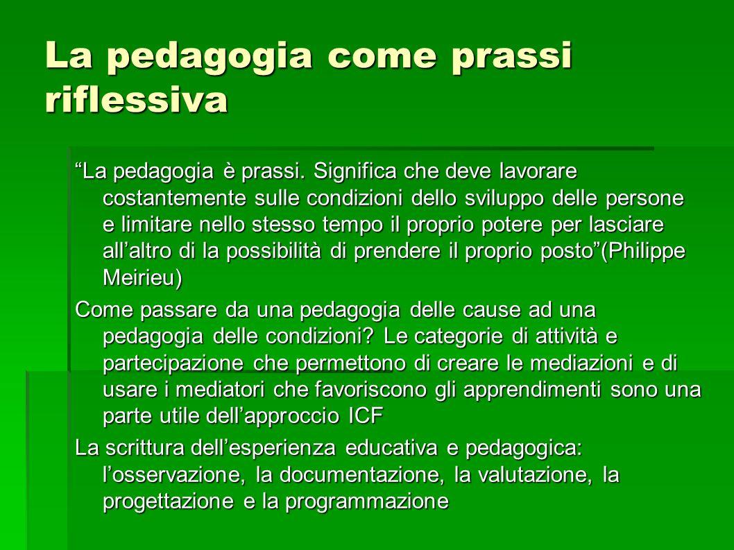 La pedagogia come prassi riflessiva La pedagogia è prassi.
