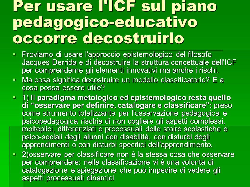 Per usare l ICF sul piano pedagogico-educativo occorre decostruirlo Proviamo di usare l approccio epistemologico del filosofo Jacques Derrida e di decostruire la struttura concettuale dell ICF per comprenderne gli elementi innovativi ma anche i rischi.
