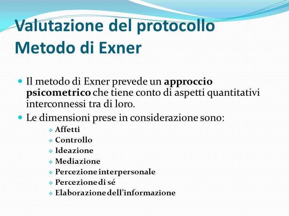 Valutazione del protocollo Metodo di Exner Il metodo di Exner prevede un approccio psicometrico che tiene conto di aspetti quantitativi interconnessi tra di loro.