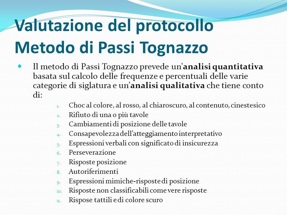 Valutazione del protocollo Metodo di Passi Tognazzo Il metodo di Passi Tognazzo prevede unanalisi quantitativa basata sul calcolo delle frequenze e percentuali delle varie categorie di siglatura e unanalisi qualitativa che tiene conto di: 1.
