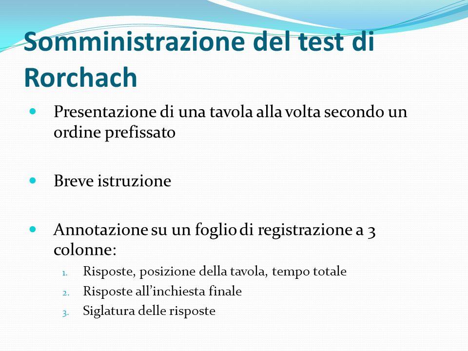 Somministrazione del test di Rorchach Presentazione di una tavola alla volta secondo un ordine prefissato Breve istruzione Annotazione su un foglio di registrazione a 3 colonne: 1.
