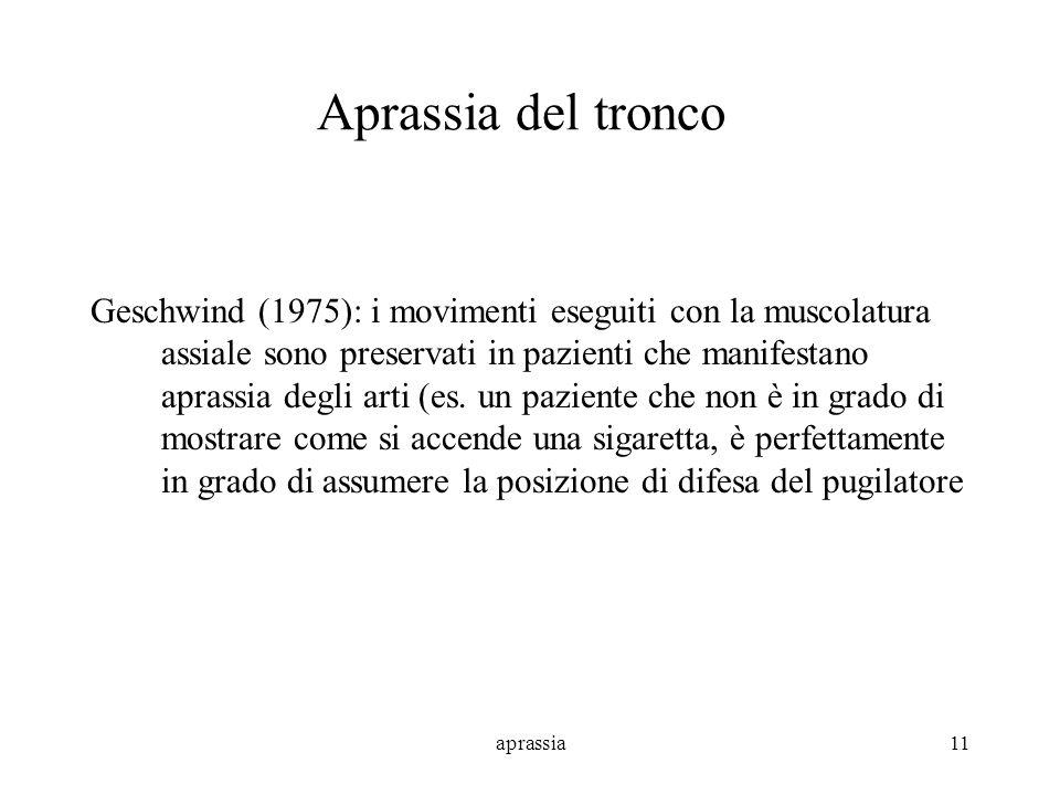 aprassia11 Aprassia del tronco Geschwind (1975): i movimenti eseguiti con la muscolatura assiale sono preservati in pazienti che manifestano aprassia