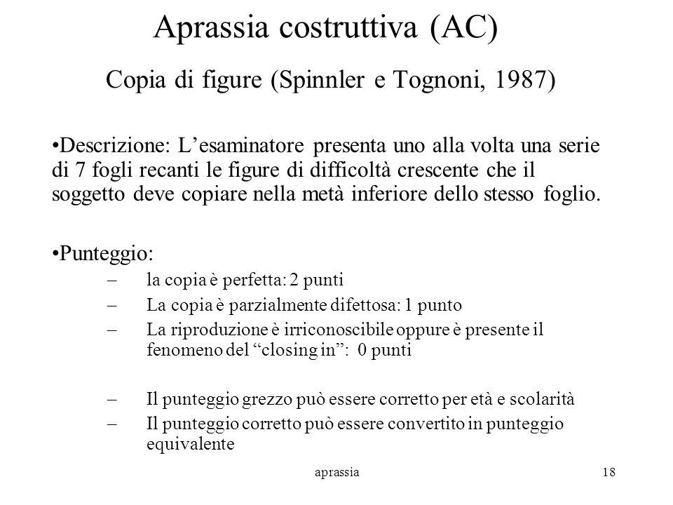 aprassia18 Aprassia costruttiva (AC) Copia di figure (Spinnler e Tognoni, 1987) Descrizione: Lesaminatore presenta uno alla volta una serie di 7 fogli