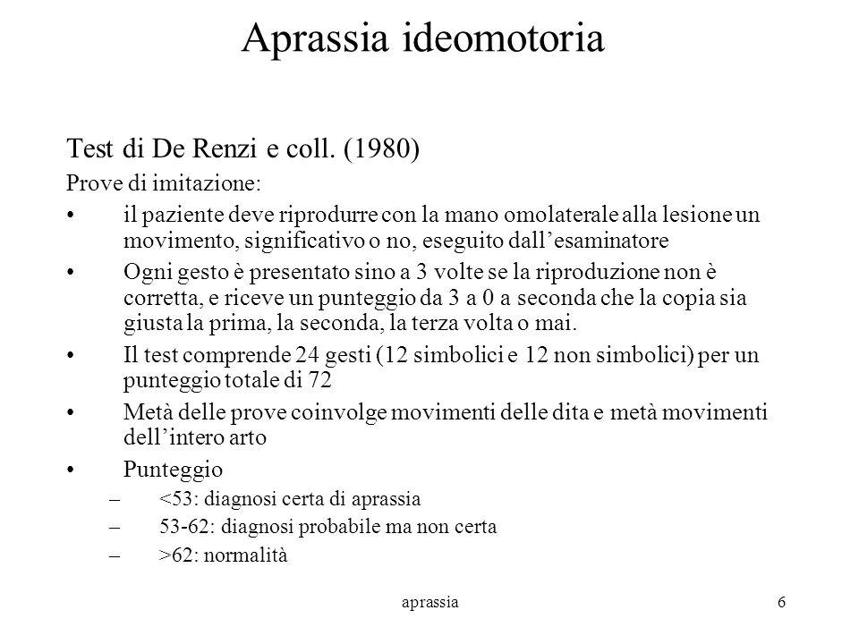 aprassia6 Aprassia ideomotoria Test di De Renzi e coll. (1980) Prove di imitazione: il paziente deve riprodurre con la mano omolaterale alla lesione u