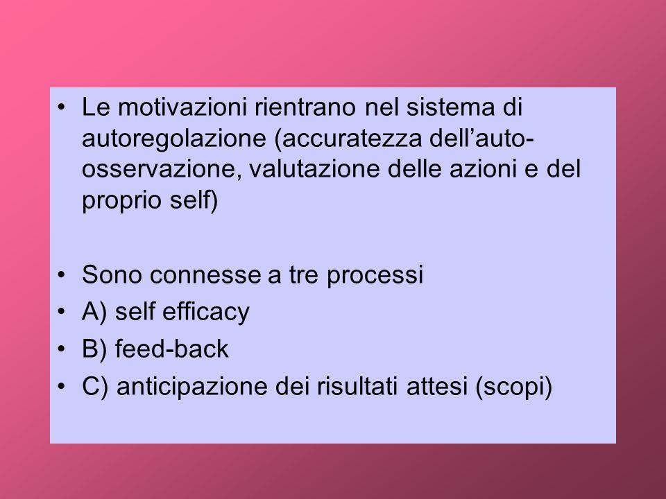 Le motivazioni rientrano nel sistema di autoregolazione (accuratezza dellauto- osservazione, valutazione delle azioni e del proprio self) Sono conness