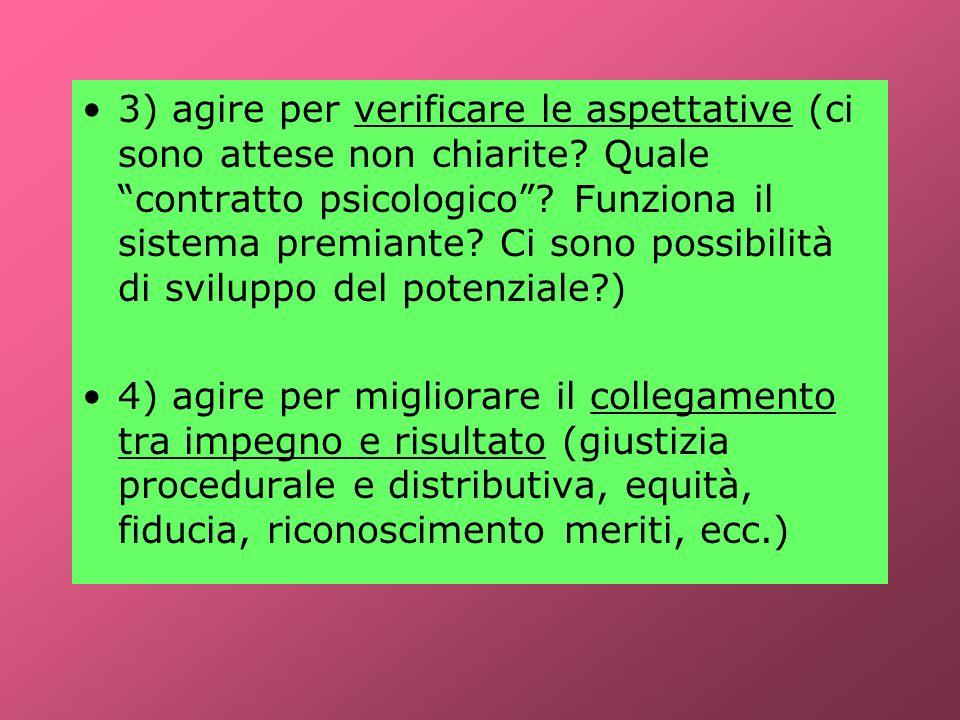 3) agire per verificare le aspettative (ci sono attese non chiarite? Quale contratto psicologico? Funziona il sistema premiante? Ci sono possibilità d