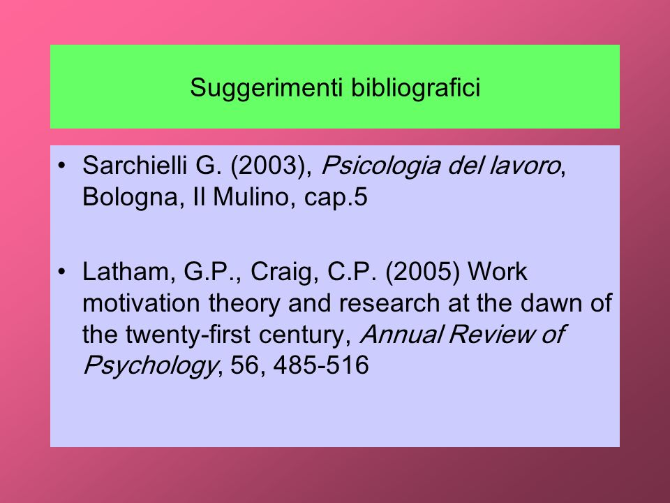 Suggerimenti bibliografici Sarchielli G. (2003), Psicologia del lavoro, Bologna, Il Mulino, cap.5 Latham, G.P., Craig, C.P. (2005) Work motivation the