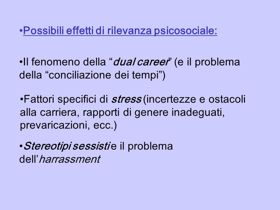 Possibili effetti di rilevanza psicosociale: Il fenomeno della dual career (e il problema della conciliazione dei tempi) Fattori specifici di stress (