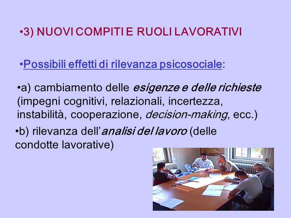3) NUOVI COMPITI E RUOLI LAVORATIVI Possibili effetti di rilevanza psicosociale: a) cambiamento delle esigenze e delle richieste (impegni cognitivi, r