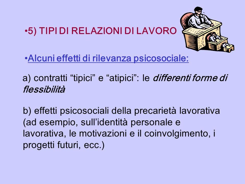 5) TIPI DI RELAZIONI DI LAVORO Alcuni effetti di rilevanza psicosociale: a) contratti tipici e atipici: le differenti forme di flessibilità b) effetti
