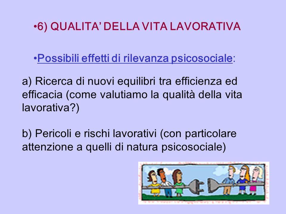 6) QUALITA DELLA VITA LAVORATIVA Possibili effetti di rilevanza psicosociale: a) Ricerca di nuovi equilibri tra efficienza ed efficacia (come valutiam