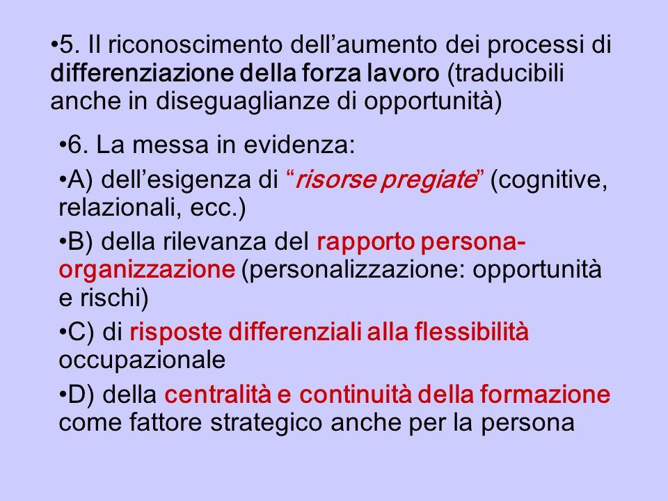 5. Il riconoscimento dellaumento dei processi di differenziazione della forza lavoro (traducibili anche in diseguaglianze di opportunità) 6. La messa