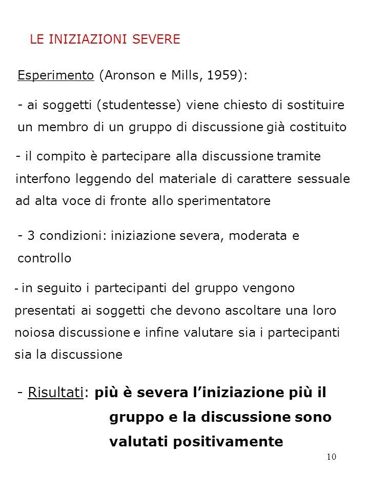 10 LE INIZIAZIONI SEVERE Esperimento (Aronson e Mills, 1959): - ai soggetti (studentesse) viene chiesto di sostituire un membro di un gruppo di discus
