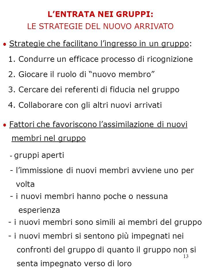 13 LENTRATA NEI GRUPPI: LE STRATEGIE DEL NUOVO ARRIVATO Strategie che facilitano lingresso in un gruppo: 1. Condurre un efficace processo di ricognizi
