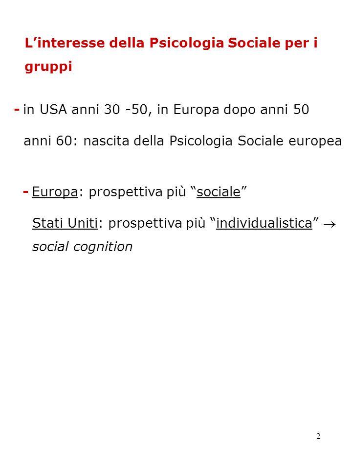 2 Linteresse della Psicologia Sociale per i gruppi - in USA anni 30 -50, in Europa dopo anni 50 anni 60: nascita della Psicologia Sociale europea - Eu