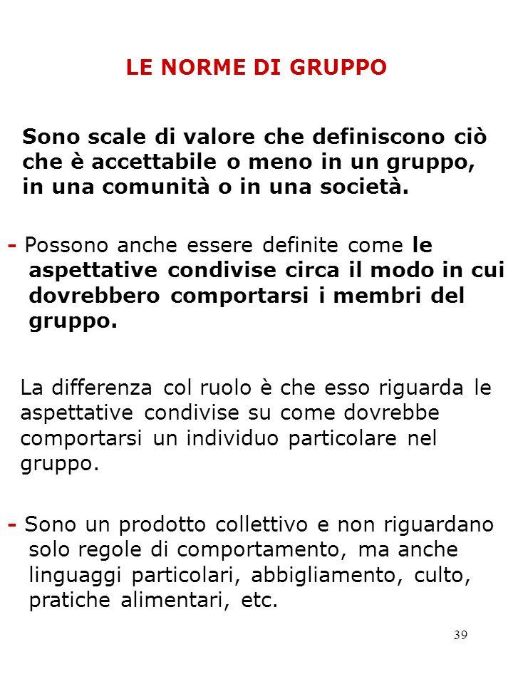 39 LE NORME DI GRUPPO - Possono anche essere definite come le aspettative condivise circa il modo in cui dovrebbero comportarsi i membri del gruppo. S